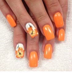 Orange Flower Nail Idea