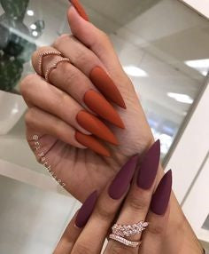 Purple and Orange Nail Idea