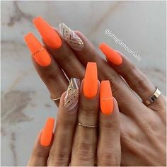 Stripe Orange Nail Idea
