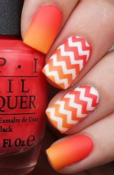 Aztec Orange Nail Idea