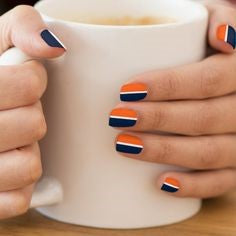 Half Blue and Half Orange Nail Idea