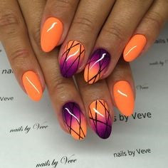 Orange Net Nail Idea