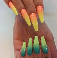 Green Orange Nail Idea