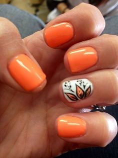 Water Decals Orange Nail Idea