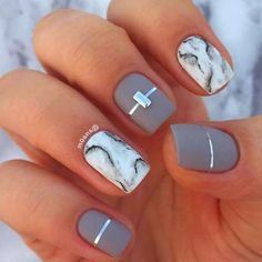 Marble Square Nail Design