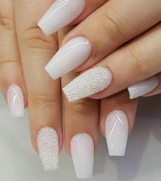 Glitter Stylish White Coffin Nail Art Idea