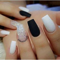 White and Black Stylish Nail Art Idea
