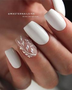 3D Leaves and Stylish White Nail Art Idea