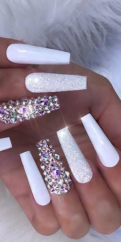 Rhinestone White Stylish Coffin Nail Art Idea