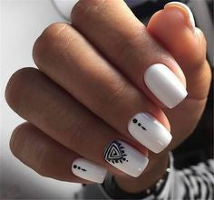 White Aztec Stylish Nail Art Idea