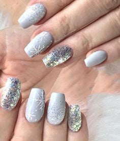Christmas White and Silver Nail Design