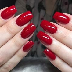 Classic Red Acrylic Nail Design