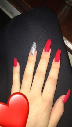 Red Acrylic Long Nail Design