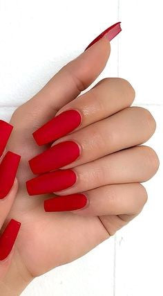 Red Acrylic Coffin Nail Design