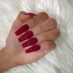 Glitter Red Acrylic Nail Design