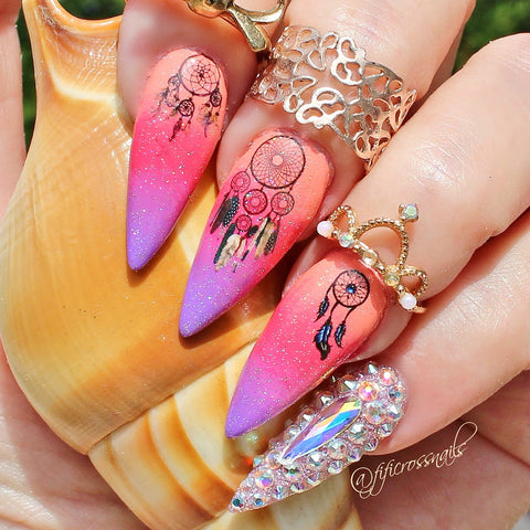 Owl Dream Catcher Nail Decals Transfer Nail Art Stickers Beauty