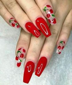 Cherry Acrylic Nail Design