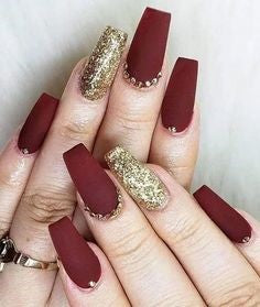 Gold and Red Acrylic Nail Design