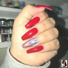 Holographic Red Acrylic Nail Design