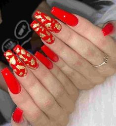 Gold Sequins Red Acrylic Nail Design