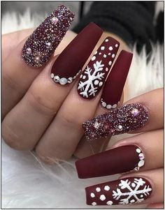 Winter Red Acrylic Nail Design