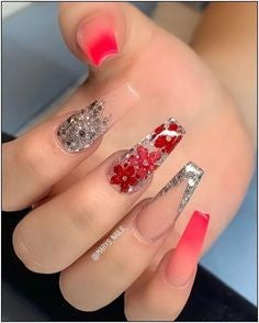 Red Flower Acrylic Nail Design