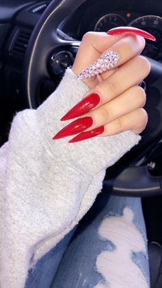 Long Red Acrylic Stiletto Nail Design