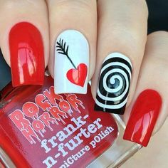 Love Arrow Hits Bulls Eye Valentine Nail Design