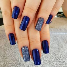 Blue Nail Polish Designs-2 Square nails