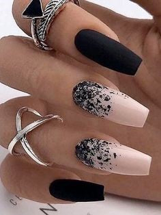 Newest Nail Designs-3 Black nude nails