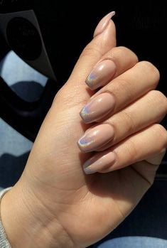 Newest Nail Designs-10 Holographic nude nails