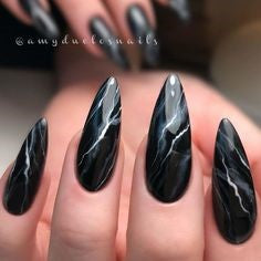 Newest Nail Designs-15 Black Marble nails