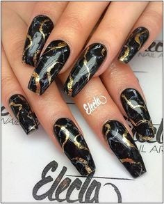 Newest Nail Designs-18 Gold Marble nails