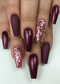 Newest Nail Designs-24 Burgundy Sequins coffin nails