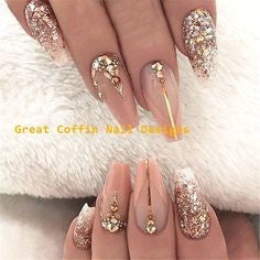 Newest Nail Designs-25 Gold Rhinestone coffin nails