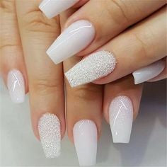 Newest Nail Designs-26 White coffin nails
