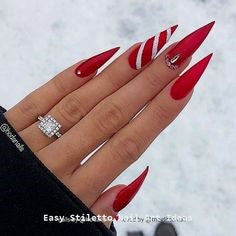 Newest Nail Designs-31 Christmas Red stiletto nails