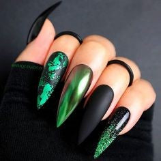 Newest Nail Designs-32 Halloween Green stiletto nails