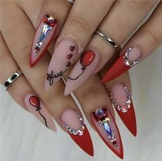 Newest Nail Designs-33 Holiday stiletto nails