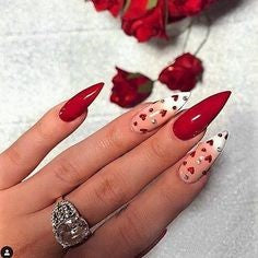 Newest Nail Designs-34 Valentine's Day stiletto nails