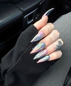 Newest Nail Designs-37 Holographic stiletto nails