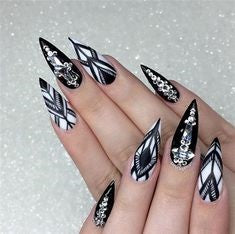 Newest Nail Designs-39 Aztec stiletto nails