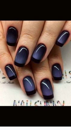 Newest Nail Designs-43 Cat Eye Black French nails