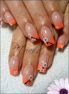 Newest Nail Designs-44 Flower Orange French nails