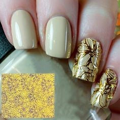Newest Nail Designs-52 Gold stripe 3D sticker nails