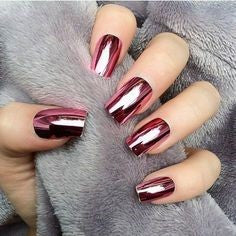 Newest Nail Designs-57 Red Mirror Metallic nails