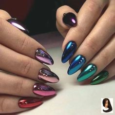 Newest Nail Designs-58 Colorful Metallic nails