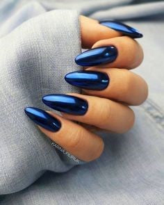 Newest Nail Designs-60 Blue Metallic nails