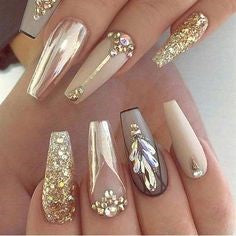 Glittering coffin New Year Nail Design