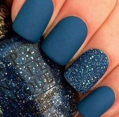 Matte Blue New Year Nail Design